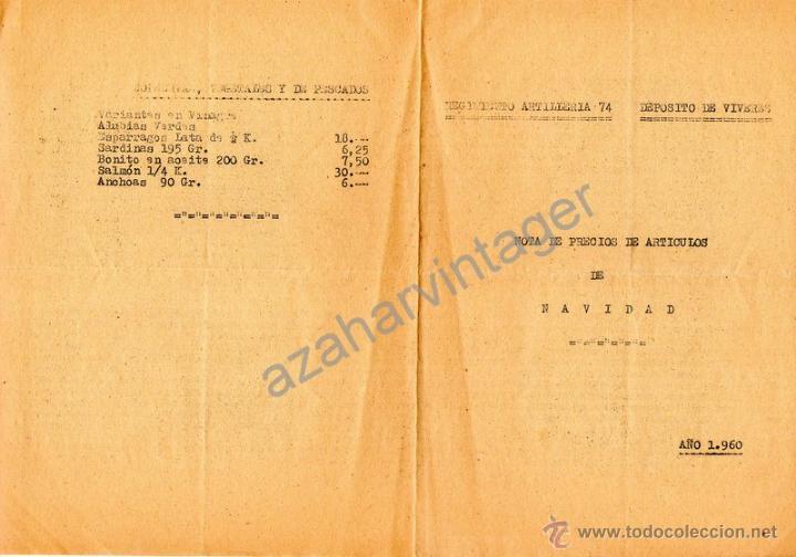 REGIMIENTO ARTILLERA 74, DEPOSITO DE VIVERES, NOTA PRECIO ARTICULOS NAVIDAD 1960 (Militar - Propaganda y Documentos)