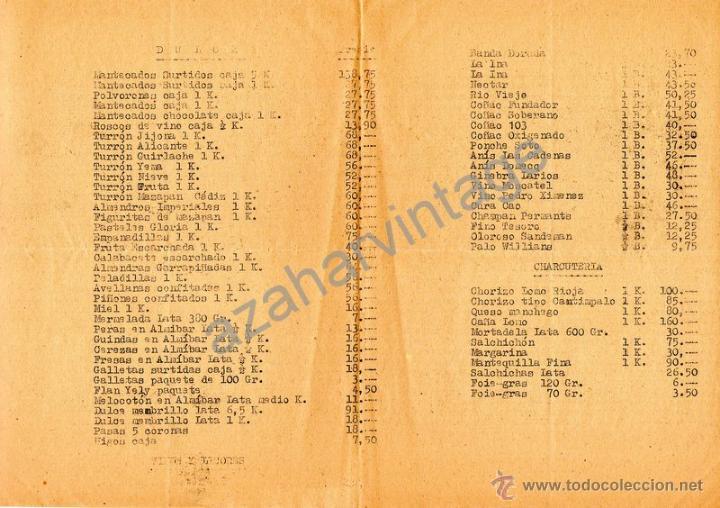 Militaria: REGIMIENTO ARTILLERA 74, DEPOSITO DE VIVERES, NOTA PRECIO ARTICULOS NAVIDAD 1960 - Foto 2 - 54059934