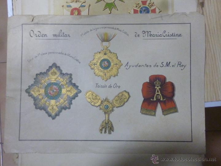 Militaria: LOTE DE 16 LITOGRAFIAS DE CONDECORACIONES ESPAÑOLAS, SIGLO XIX - Foto 3 - 54087163