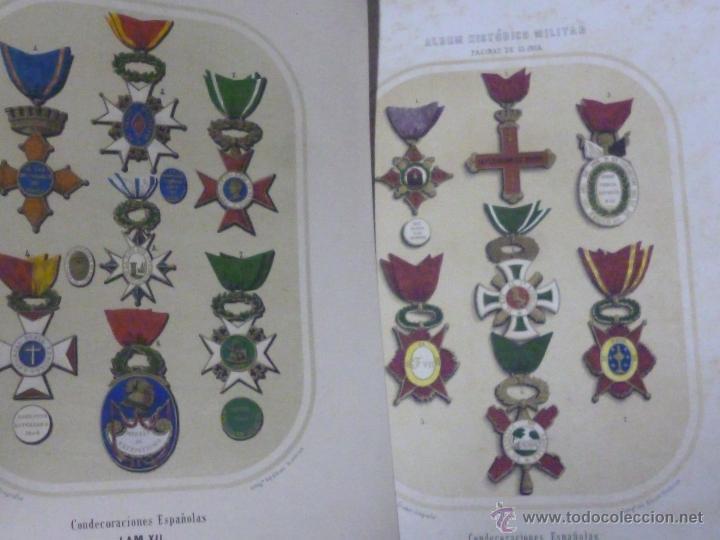 Militaria: LOTE DE 16 LITOGRAFIAS DE CONDECORACIONES ESPAÑOLAS, SIGLO XIX - Foto 8 - 54087163