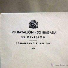 Militaria: SOBRE MEMBRETE, REPUBLICA, 128 BATALLON 32 BRIGADA, MOVIL, COMANDANCIA, GUERRA CIVIL ESPAÑOLA. Lote 54219928
