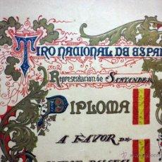 Militaria: DIPLOMA, TIRO NACIONAL DE ESPAÑA, MAESTRO TIRADOR A FUSIL, SANTANDER, 1927. Lote 54230008