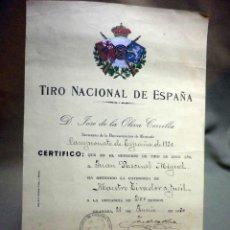 Militaria: CERTIFICADO, TIRO NACIONAL DE ESPAÑA, MAESTRO TIRADOR A FUSIL, 200 METROS, GRANADA, 1930. Lote 54242809