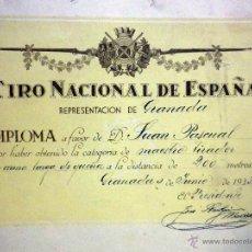 Militaria: DIPLOMA, TIRO NACIONAL DE ESPAÑA, MAESTRO TIRADOR ARMA LARGA GUERRA, 200 METROS, GRANADA, 1933. Lote 54242867