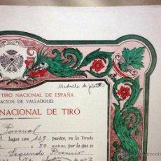 Militaria: DIPLOMA, 2º PREMIO MEDALLA DE PLATA, TIRO NACIONAL DE ESPAÑA, VALLADOLID, 1947. Lote 54260500
