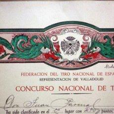 Militaria: DIPLOMA, 2º PREMIO MEDALLA DE PLATA, CON FUSIL, TIRO NACIONAL DE ESPAÑA, VALLADOLID, 1947. Lote 54260548