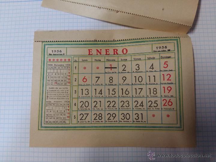 Calendario 1936.Parte De Calendario 1936