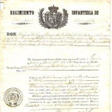 Militaria: LICENCIA DEL REGIMIENTO INFANTERÍA DE NAVARRA Nº 25 EXPEDIDO EL AÑO 1859 - VECINO DE LORCA (MURCIA). Lote 54499732