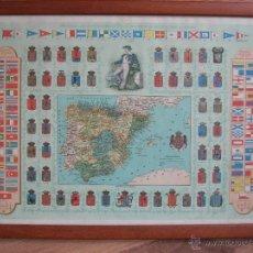 Militaria: LAMINA ENMARCADA AÑO 1894. MAPA DE ESPAÑA. BANDERAS DE LA MARINA MERCANTE. ESCUDOS PROVINCIALES.. Lote 54669850