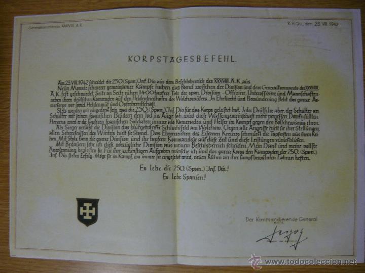 PARTE SOBRE LA DIVISIÓN AZUL (23-8-1942). REPRODUCCIÓN LIMITADA AÑOS 80 (FALANGE, BLAU, HERMANDAD) (Militar - Propaganda y Documentos)