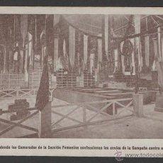 Militaria: (ALB-TC-2) FOTOGRAFIA IMPRESA CARTON DE LOCAL CAMARADAS SECCION FEMENINA CAMPAÑA CONTRA EL FRIO. Lote 54700876