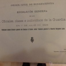 Militaria: ORDEN CIVIL DE BENEFICENCIA,GUARDIA CIVIL, ESCALAFON A 1925, DOCUMENTO RARISIMO. Lote 54703404