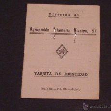 Militaria: CARTILLA MILITAR DE LA AGRUPACIÓN DE INFANTERIA VIZCAYA Nº 21 DE ALCOY. Lote 54751155