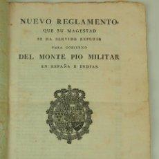 Militaria: DO-003 - NUEVO REGLAMENTO DEL MONTEPIO MILITAR. PAPEL IMPRESO. BARCELONA. ESPAÑA. 1796.. Lote 50401709