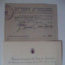 Militaria: TARJETA DE INCRIPCION DE CAMPAMENTO DEL FRENTE DE JUVENTUDES 1942 Y UNA INVITACION DE 1952. Lote 54924869