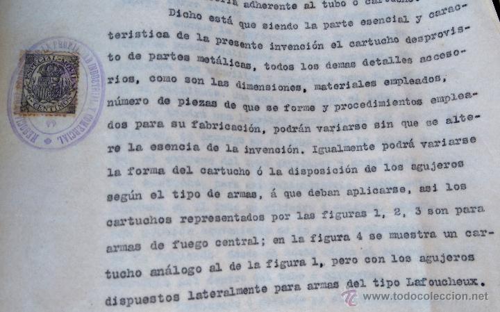 Militaria: PATENTE ESPAÑOLA,INVENTO CARTUCHO MUNICION PARA PISTOLA-REVOLVER LEFAUCHEUX,AÑO1919,AVANCARGA,ARMA - Foto 2 - 54977142