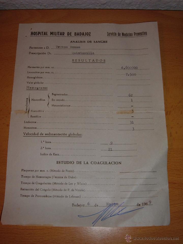 ANTIGUO DOCUMENTO HOSPITAL MILITAR DE BADAJOZ, 1969 (Militar - Propaganda y Documentos)