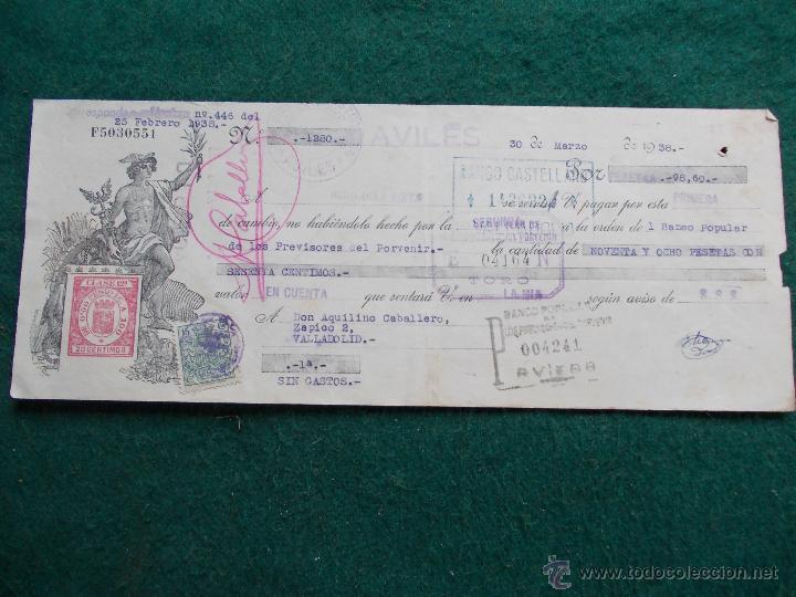 LETRA DE CAMBIO FEBRERO DE 1.938 GUERRA CIVIL ESPAÑOLA (Militar - Propaganda y Documentos)