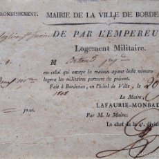 Militaria: GUERRA INDEPENDENCIA,NAPOLEON BONAPARTE,ORDEN EMPERADOR DE ALOJAR TROPAS PARA INVASION ESPAÑA,1808. Lote 55121829