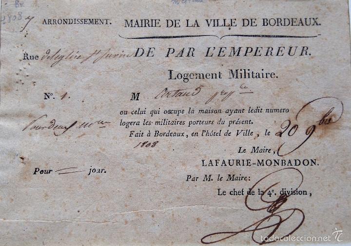 Militaria: GUERRA INDEPENDENCIA,NAPOLEON BONAPARTE,ORDEN EMPERADOR DE ALOJAR TROPAS PARA INVASION ESPAÑA,1808 - Foto 3 - 55121829