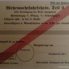 Militaria - Documento Pase Trenes Wehrmacht. 2. Ejército Alemán. Alemania. 2ª Guerra Mundial. 1939-1945. Réplica - 56083411