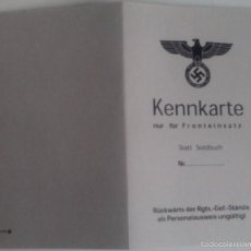 Militaria - Documento identidad Primera Línea. Ejército Alemán. Alemania. 2ª Guerra Mundial. 1939-1945. Réplica - 56083524