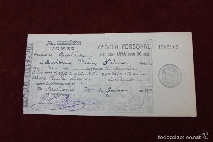 CEDULA PERSONAL MONTORNES, BARCELONA 1910 (Militar - Propaganda y Documentos)