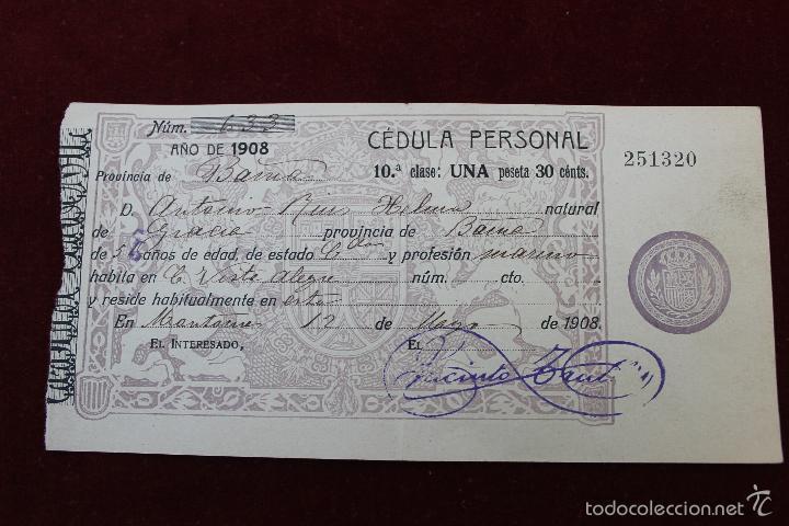 CEDULA PERSONAL MONTORNES, BARCELONA 1908 (Militar - Propaganda y Documentos)
