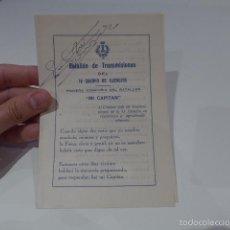Militaria: DOCUMENTO BATALLON DE TRANSMISIONES DEL IV CUERPO EJERCITO, INGENIEROS, CEUTA 1944. Lote 56211661