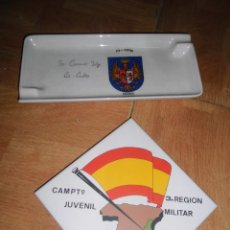 Militaria: LOTE PORCELANA AZULEJO MILITAR CAMPAMENTO JUVENIL SAN JORGE TABARLA 81. Lote 56262799