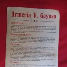 Militaria: TUY PUBLICIDAD - ARMERIA VALERIANO GAYOSO - 1/2 FOLIO A UNA CARA - CAZA POLVORA CARTUCHOS +- 1930. Lote 56574851