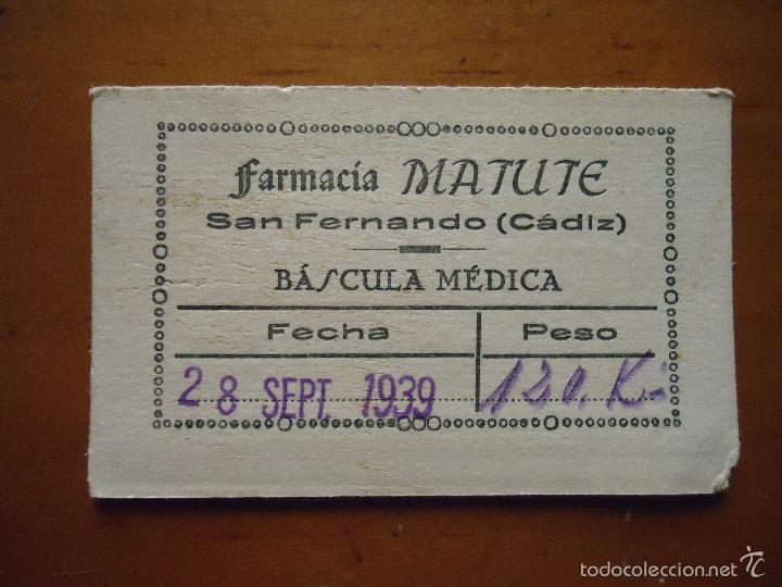 ¿QUIEN DICE QUE NO HABIA GORDOS EN LA GUERRA? 1939 CADIZ FARMACIA MATUTE SAN FERNANDO 120 KILOS (Militar - Propaganda y Documentos)