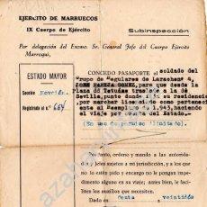 Militaria: PASAPORTE DEL EJERCITO DE MARRUECOS A UN SOLDADO, REGULARES DE LARACHE - 1946 . Lote 56801122