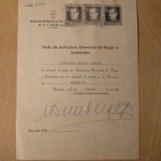 Militaria: DOCUMENTO TÍTULO DE LA SECCIÓN FEMENINA DE FALANGE, CON FIRMA ORIGINAL . Lote 56818486