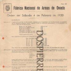 Militaria: ORDEN DEL DÍA- FÁBRICA NACIONAL DE ARMAS DE OVIEDO, 1950. Lote 56819595