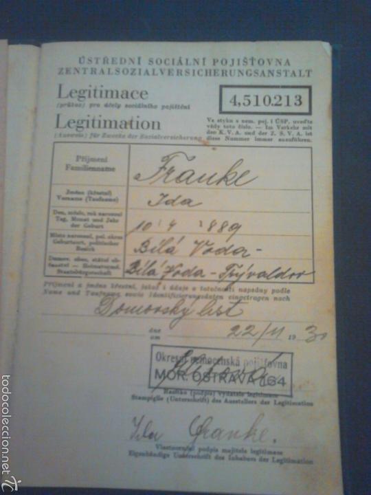 Militaria: Cartilla de trabajo de Moravia año 1930 con varios años de sello - Foto 2 - 56984305
