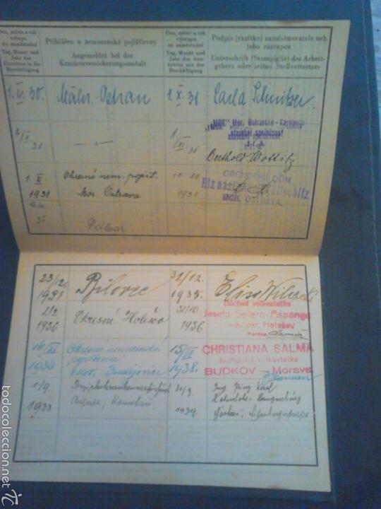 Militaria: Cartilla de trabajo de Moravia año 1930 con varios años de sello - Foto 3 - 56984305