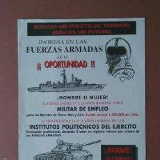 Militaria: FOLLETO PUBLICITARIO INGRESA EN LAS FUERZAS ARMADAS. PROMITEC 2000.. Lote 57259354