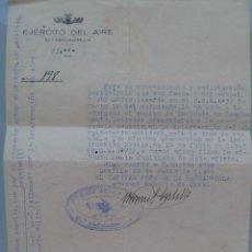 Militaria: AVIACION , EJERCITO DEL AIRE 61ª ESCUADRILLA : NOTIFICACION ASCENSO A TENIENTE. SEVILLA, 1944. Lote 57559465
