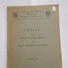 Militaria: INDICE DE LA COLECCION DE NORMAS ESPAÑOLAS DE OBLIGADO CUMPLIMIENTO EN EL EJERCITO 1961. TDK147. Lote 57568740