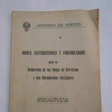 Militaria: ORDEN, INSTRUCCIONES Y FORMULARIOS PARA LA REDACCION DE HOJAS SERVICIOS. MINISTERIO EJERCITO. TDK147. Lote 57568847