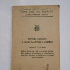 Militaria: NORMAS COMUNES A TODAS LAS ARMAS Y CUERPOS. INSTRUCCION E-51. MADRID 1954. TDK13. Lote 57569002