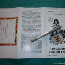 Militaria: HERMANDAD NACIONAL DE LA DIVISION AZUL FOLLETO . Lote 57599023