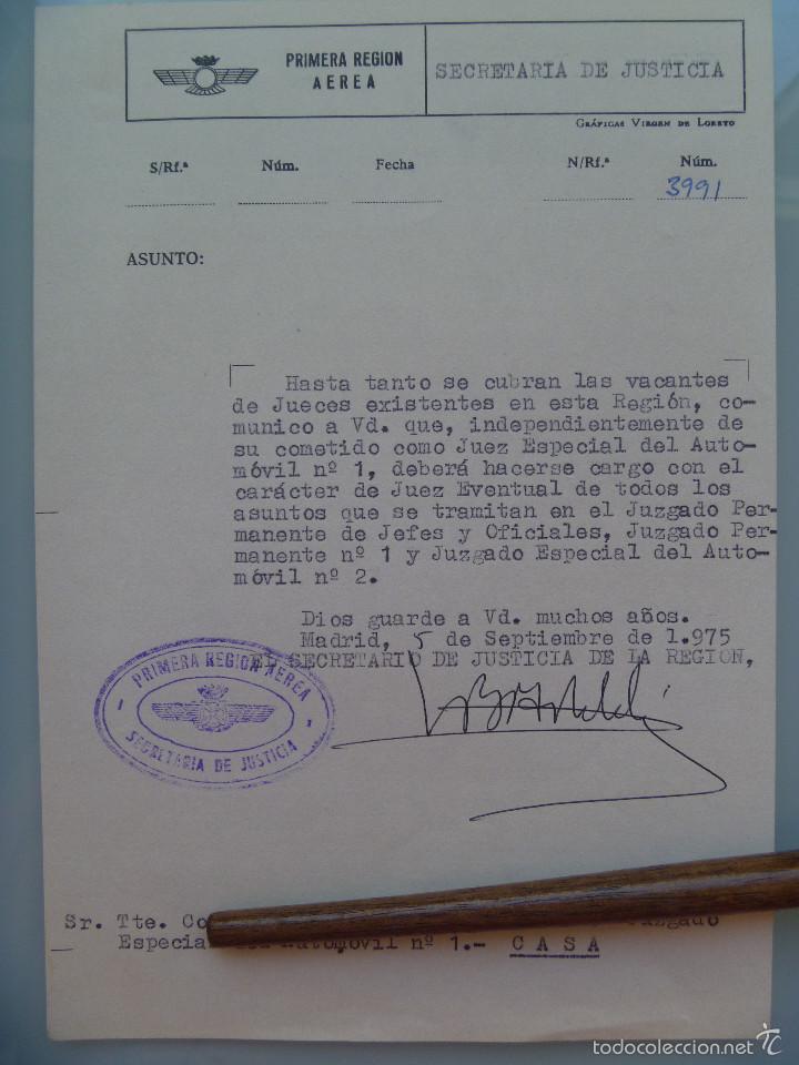 AVIACION , PRIMERA REGION AEREA: NOTIFICACION NOMBRAMIENTO JUEZ DE TENIENTE CORONEL. MADRID, 1975 (Militar - Propaganda y Documentos)