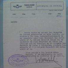 Militaria: AVIACION , PRIMERA REGION AEREA: NOTIFICACION NOMBRAMIENTO JUEZ DE TENIENTE CORONEL. MADRID, 1975. Lote 57686039