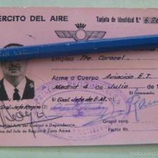 Militaria: AVIACION , EJERCITO DEL AIRE : TARJETA DE IDENTIDAD DE UN TENIENTE CORONEL . MADRID, 1975. Lote 57776090