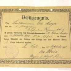 Militaria: ALEMANIA I GUERRA - DOCUMENTO CONCESION PARA EISERNES KREUZ II KLASSE 1918. Lote 57807931