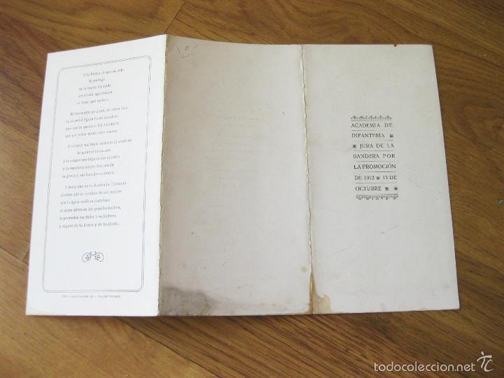 Militaria: CANTO A LA BANDERA E HIMNO DE LA ACADEMIA DE INFANTERIA DE TOLEDO PARA LA JURA DE BANDERA DE 1912 - Foto 2 - 57929642