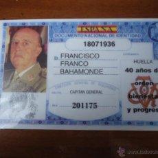 Militaria: DNI FRANCISCO FRANCO. MILITAR , JEFE DEL ESTADO NACIONAL. Lote 53665995