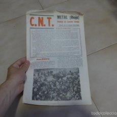 Militaria: LOTE REVISTA SINDICATO METAL, PANFLETO, OCTAVILLA DE TRANSICION POLITICA. CNT LA RIOJA, ANARQUISTA. Lote 57974346